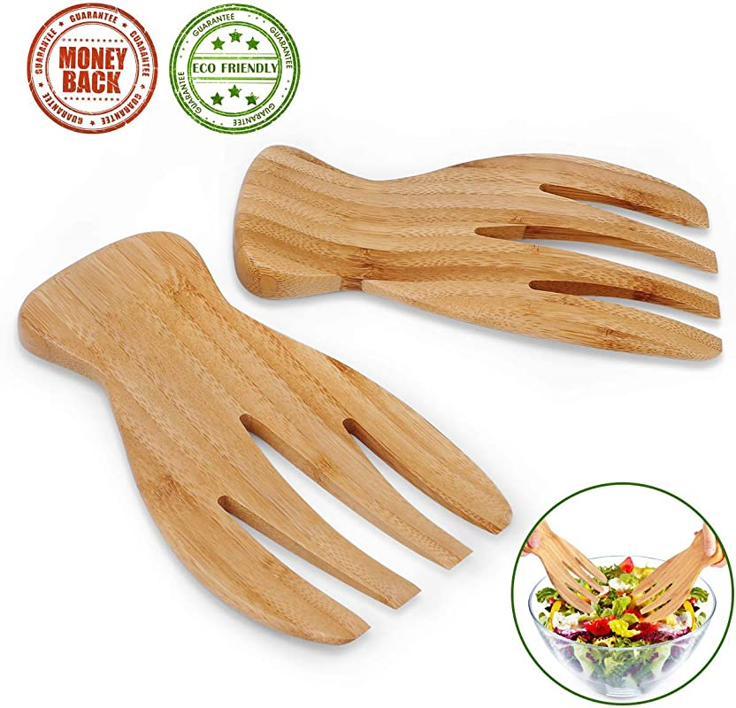 Salad Servers Bamboo Serving Tosser Server Claws Wooden Server Claws Stylish Design Best For Serving Salad Pasta Fruit Great On Your Kitchen Counter Pack Of 2