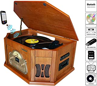 8-in-1 Boytone BT-25WB Natural Wood Classic Turntable Stereo System, Vinyl Record Player, AM/FM, CD Player, Cassette Player, USB, SD Slot. 2 Built-in Speakers, Remote Control, MP3 Player