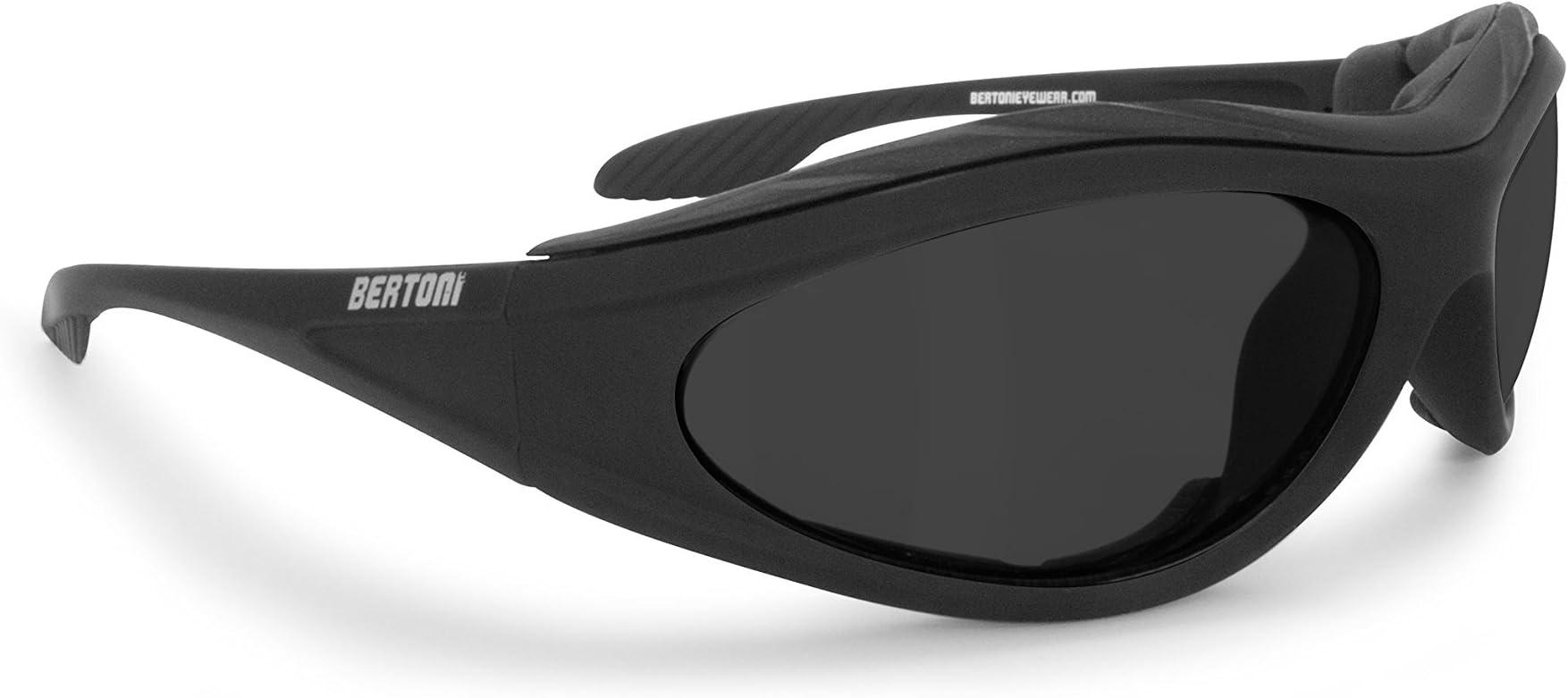 Bertoni Motorcycle Padded Glasses - Windproof Antifog Anticrash Lens - AF125C Italy Motorbyke Riding Sunglasses - Matt Black - Grey Lens