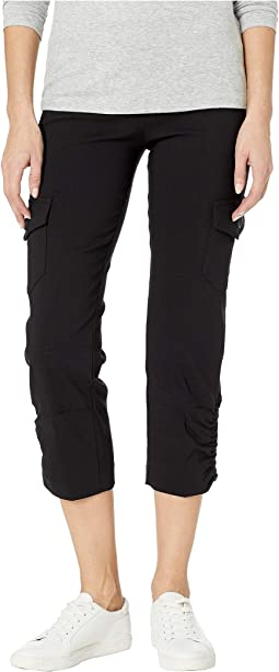 Control Stretch Pull-On Crop Pants with Cargo Pockets & Rouched Hem