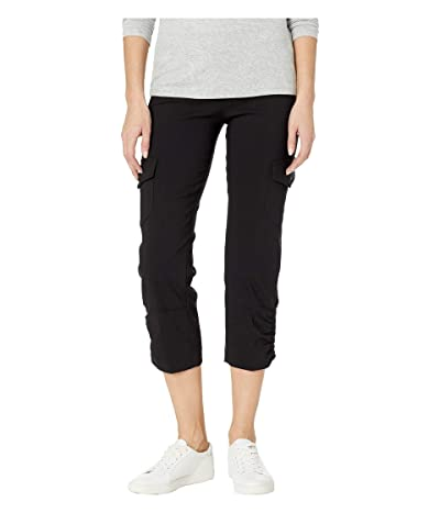 Elliott Lauren Control Stretch Pull-On Crop Pants with Cargo Pockets Rouched Hem (Black) Women