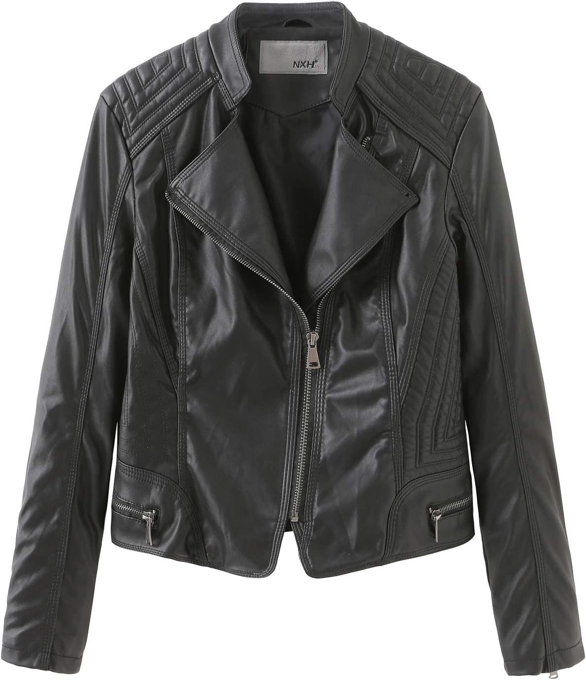 SENDEREAL New Women's Faux Leather Jackets Black Slim Moto Biker Jacket Coat,M