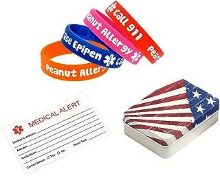Child Peanut Allergy Alert Bracelets Call 911 Use Epipen Emergency Medical Wristbands 4Pcs