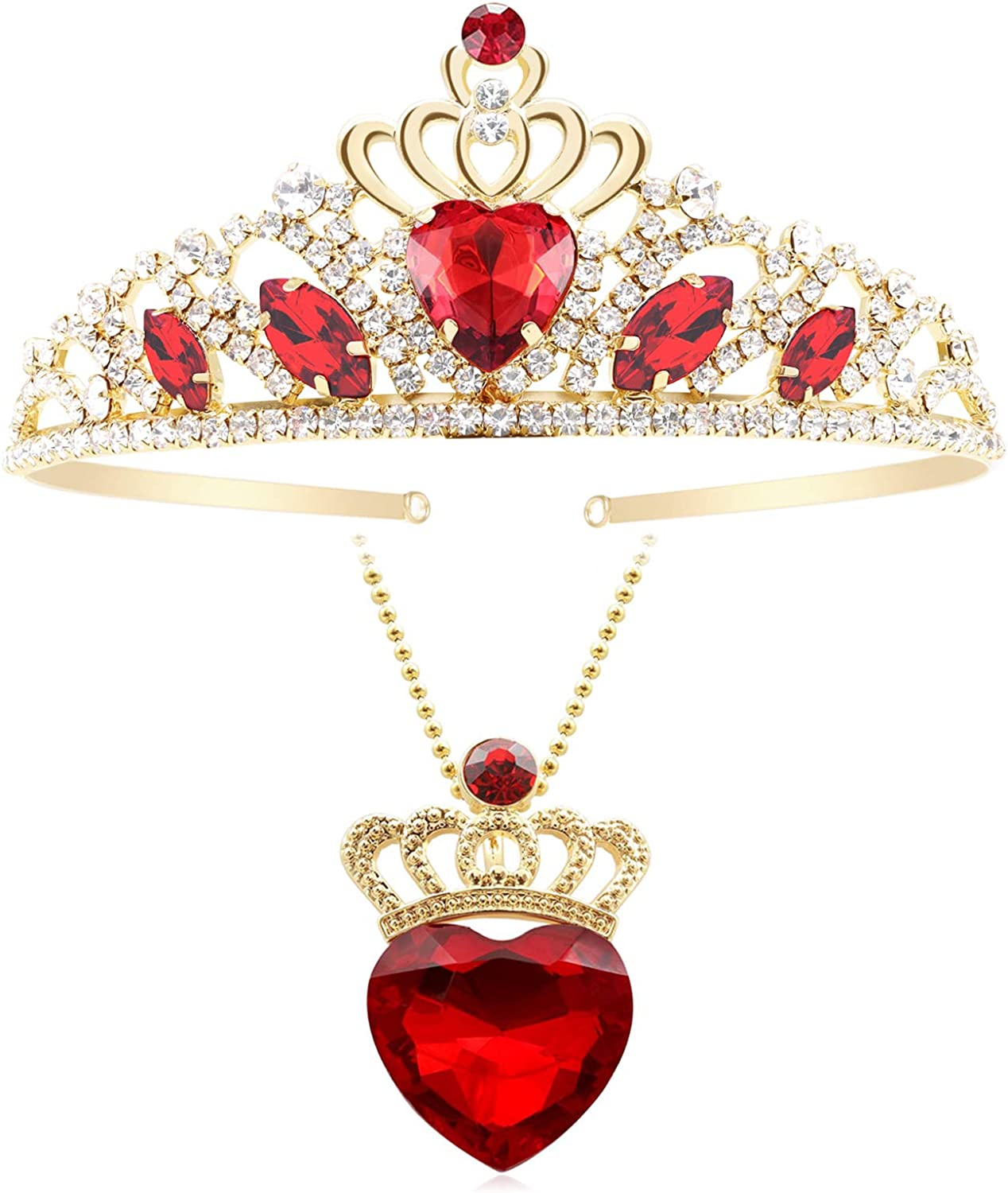Evie Red Heart Crown and Phoenix Mall Necklace Jewel Now free shipping Gold 3 Tiara Descendants