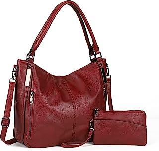 Damen Handtaschen Groß Shopper Lederhandtasche Schultertasche Umhängetasche Geldbörse Hobo Damen Taschen Set 2pcs(Rot)
