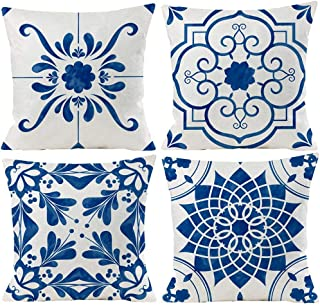 Best Guhoo Geometric Blue Flower Decorative Throw Pillow Covers 18 x 18 Inch, Set of 4 Abstract Blue Flower Cushion Cover Square Pillow Cases for Couch Patio Sofa Home Decor Review