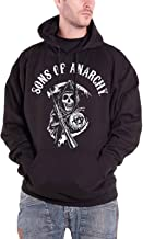 LYLXS Sons of Anarchy brod/é pi/èce Top /à Capuche Sweatshirt Homme Capuche Noir Manches Longues