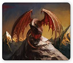 Dragon Mouse Pad, Malicious Dragon on Mountain Peaks Reflecting His Next Move Oriental Legendary Beast Gaming Mousepad Office Mouse Mat