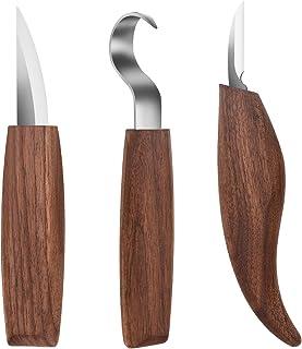 3 cuchillos de tallado de madera para afilar y la elaboración de madera, para tallar cucharas, cuencos y otras manualidades, para principiantes y profesionales escultores, Wood Carving Tools