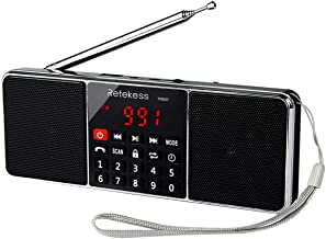 Retekess TR602 Portable AM FM Stereo Radio with Wireless MP3 Player Speaker AUX Input Support TF Card USB Disk with LED Display Sleep Timer (Black)