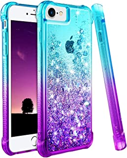 Ruky iPhone 6 6S 7 8 Case, iPhone SE 2020 Case, Gradient Quicksand Series Glitter Bling Flowing Liquid Floating TPU Bumper Cushion Protective Case for iPhone 6/6s/7/8/SE 2020 4.7 inches (Teal Purple)