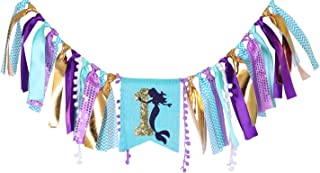 Mermaid Banner for 1st Birthday – First Birthday Decoration for Mermaid Under The Sea,Baby Shower Or Party Photo Prop, Bohemian Style Boho Chic Party Ideas, Best Party Supplies (Let's Mermaid)