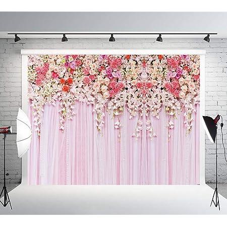 8x6ft Luxury Flower Wall Pink Baby Child Birthday Flower Newborn Flower Shower Birthday Party Wallpaper Photo Studio Wedding Background Cloth familyportrait Background Cloth