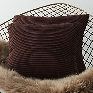 LHKIS Throw Pillow Covers 18x18 for Couch, Set of 2 Decrative Sofa Accent Cojines, Dark Coffee