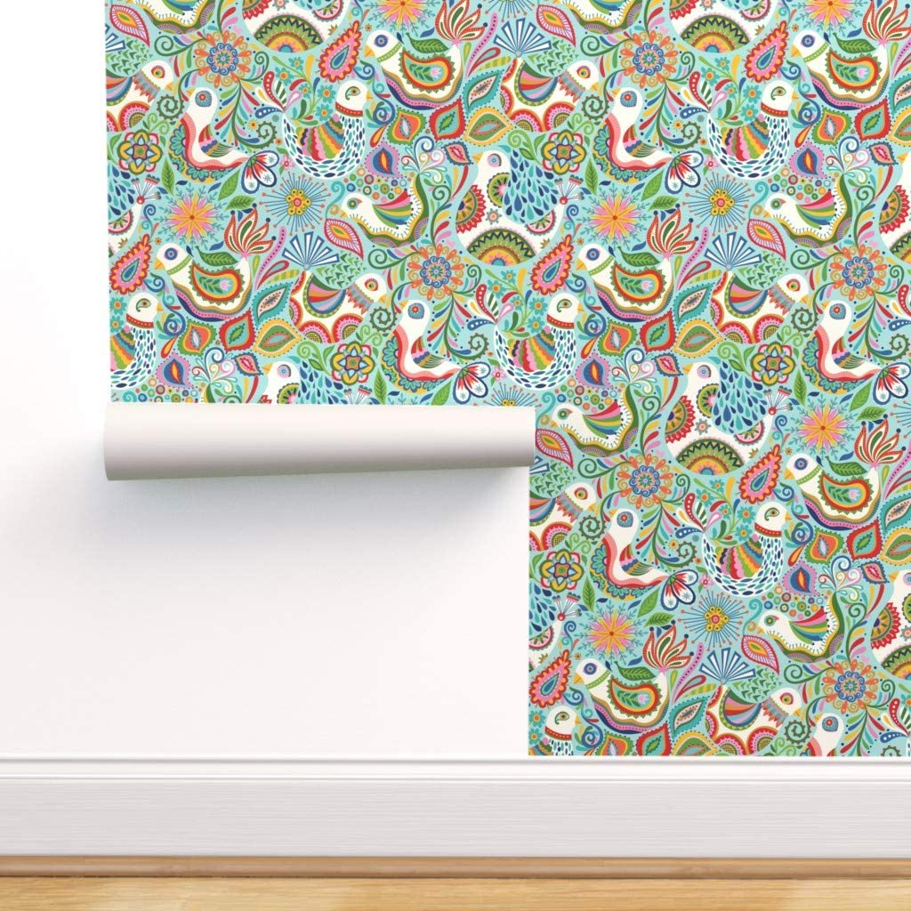 Removable Water-Activated Wallpaper - Brand new Paisley Bird Birds Max 68% OFF Floral