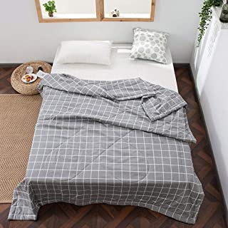 Anjos Japanese Nordic Grey Plaids Thin Summer Quilt Comforters Quilting Stitching Bedspread Blanket Polyester Material Microfiber Filler (Twin59x78inch)