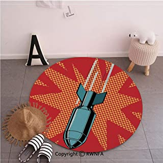 Commercial Grade Standing Mat,Cartoon Drops Atomic Bomb Destructive Nuclear Attack Destroying Illustration Red Grey,59.1inches,Rugs for Office Stand Up Desk,Circle 5-Feet Diameter