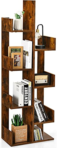 new arrival Giantex Wooden Bookcase, Tree-Shaped Modern outlet online sale Display Bookshelf w/ 8 Storage Shelves, Anti-Toppling, 4 Tier Freestanding online Decorative Storage Organizer Shelves for CDs Movies Books Plant (Brown) outlet sale
