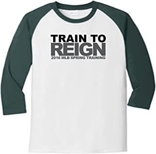 Train to Reign Spring Training 5700 Raglan T Shirt Slogan Humorous White Dark Green X-Large