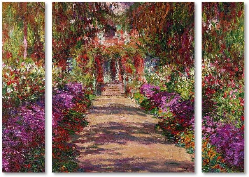 Trademark Super intense SALE Fine Art BL01173-3PC-SET-LG A Pathway Garde Max 59% OFF in Monet's