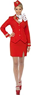 Ladies Red & Gold Flight Attendant Air Hostess Cabin Crew Trolley Dolly Uniform Carnival Fancy Dress Costume Outfit UK 8-22