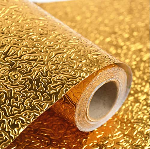 GOLKIPAR Golden Waterproof Simple Oil Proof Self Adhesive Aluminium Foil Wallpaper Backsplash Sticker for DIY Home Kitchen Furniture Decoration 2 m