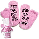 Luxury Wine Socks with Cupcake Gift Packaging: Christmas Gifts with If You Can Read This Socks Bring Me Some Wine Phrase - Funny Accessory for Her