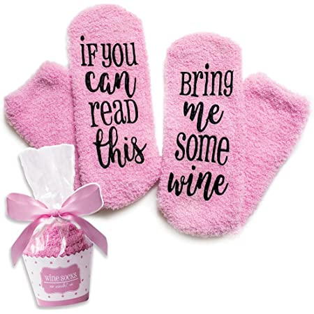 Qinhua If You Can Read This Bring Me Some Wine Socks,Gifts for Women Her Christmas Novelty Funny Socks Gift for Women