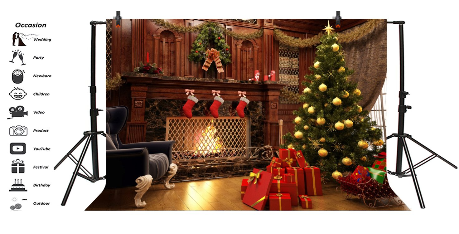 CdHBH 6x8ft Christmas Luxury Room Pine Garland Christmas Trees Wall Blurred Carpet Gift Box Background New Years eve New Year Winter Photo Studio Photo Background Wallpaper Home Decoration