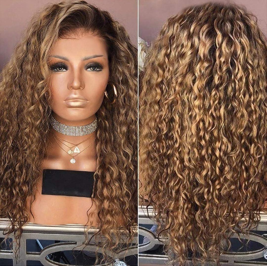 うがい生命体脚本女性カーリーブラジルウィッグ実体波ナチュラルカラーブラジル実体波かつらブラウン65 cm