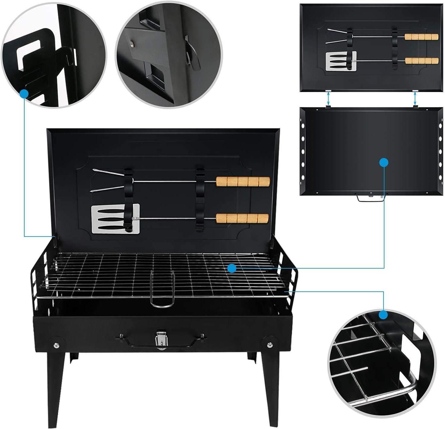WNTHBJ Barbecue à charbon de bois portable en acier inoxydable pour barbecue, table pliable, charbon, jardin, voyage, camping, noir Noir Noir