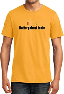 GeekDawn Graphic Printed T-Shirt|Battery About to Die T-Shirt|Funny Quote T-Shirt|Geek T-Shirt|Programmer T-Shirt|Half Sleeve T-Shirt|Round Neck T-Shirt|100% Cotton T-Shirt|Gift|Gifting