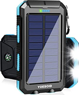 Solar Charger 20000mAh YOESOID Portable Outdoor Waterproof Solar Power Bank Camping External Battery Packs with Dual USB O...