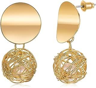 Dangle Drop Earrings,14K Gold Plated Filigree Earrings for Women Handmade Metal Woven Round Ball Hanging Earrings with Pearls