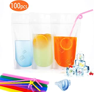 100pcs Zipper Stand-Up Drink Pouches Bags Heavy Duty Hand-Held Translucent Heat-Proof Bag with 100 Drink Straws by TOPHOUSE