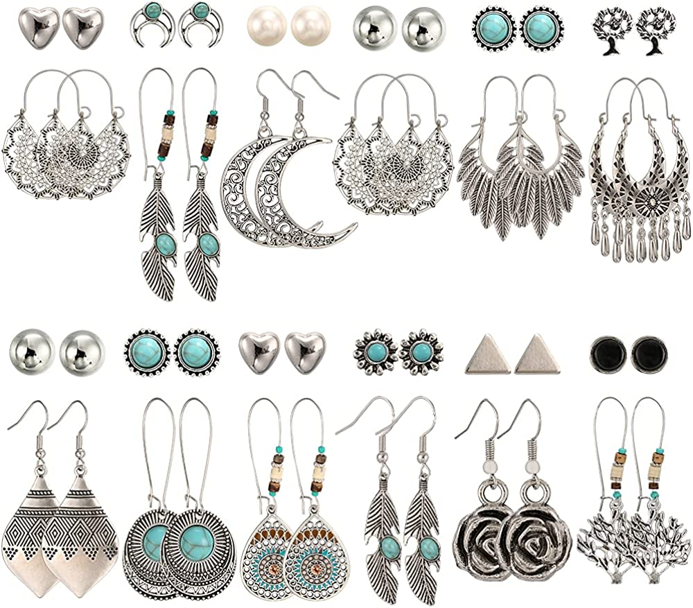 24 Pairs Fashion Vintage Drop Dangle Earrings Set for Women/Girls,Bohemian Earrings with Hollow Leaf Waterdrop Jewelry for Birthday/Party/Christmas Gifts