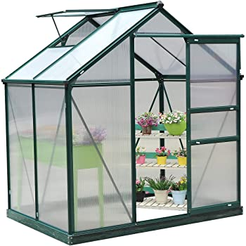 Green Growhouse With Window /& Sliding Door 6ft x 4ft Sun-Room Greenhouse Polycarbonate Rustproof Aluminium Frame With Base Clear