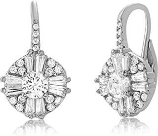 Sterling Silver Cluster Drop Antique Look Cubic Zirconia Leverback Earrings for Women (Various Colors)