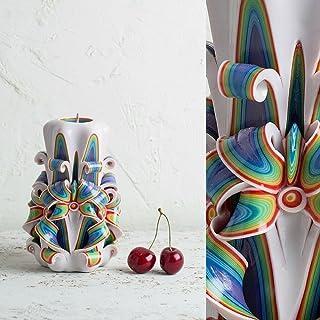Stravagante ed Esclusiva - Candela Intagliata A Mano - in Stile Arcobaleno Ornamentale - Centrino Ornamentale da Nozze - E...