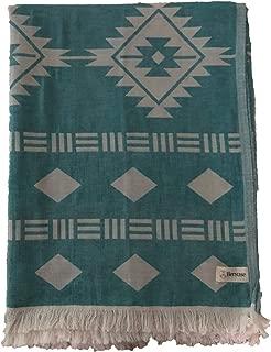 Bersuse 100% Cotton - Belize Extra Large (XL) Throw Blanket Turkish Towel - Sofa Bed Cover, Picnic Blanket - Peshtemal Beach Towel, Aztec Design - Dual Layer, Oeko-TEX - 75 x 90 Inches, Aqua