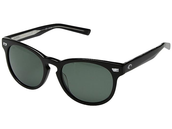 Costa  Del Mar (Shiny Black Frame/Gray 580G) Athletic Performance Sport Sunglasses