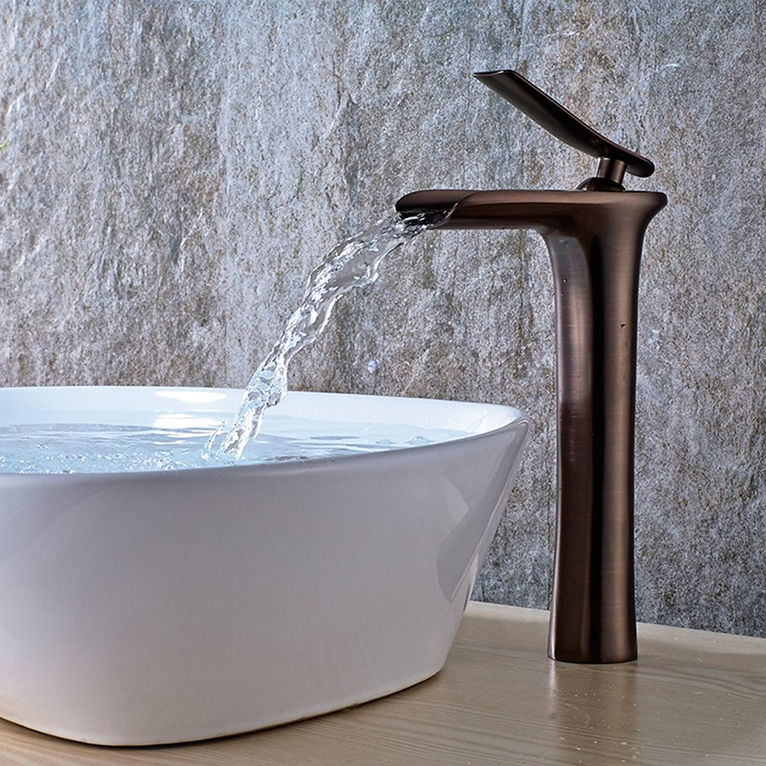 LHbox Basin Mixer Tap Bathroom Sink Faucet Waterfall basin faucet hot and cold full copper surface basin basin art basin faucet,H
