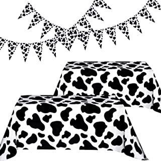 Blulu Cow Party Decorations, Include 2 Pieces cow print Table Covers table cloths and 2 Pieces cow Pennant Banner Flags