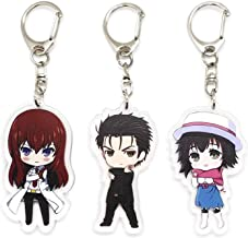 Set of 3 Steins Gate Anime Acrylic Keychain Rintarou Okabe, Kurisu Makise, Mayuri Shiina