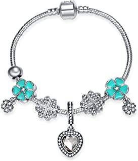 Four-Leaf Clover Charm Bracelet 925 Sterling Silver Plated with Heart Pendant with CZ Christmas Day Gift for Little Girls