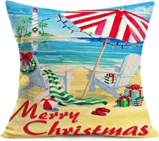 """Fukeen Merry Christmas Beach Decor Throw Pillow Covers Retro Seaside Chair with Red Green Stripes Xmas Gifts Pillow Cases Cotton Linen 18""""x18"""" Ocean SeaGull Lighthouse Home Decorative Cushion Cover"""