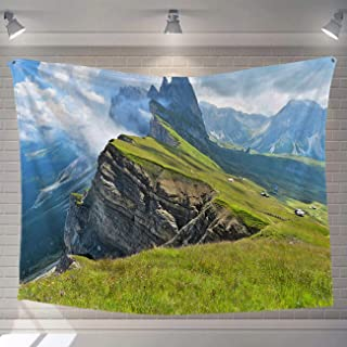 BEISICC Natural Art Tapestry Fabric Wall Hanging White Rocky Mountains Covered with Green Meadows Villages and Houses Fashion Fabric Tapestry for Bedroom Living Room Apartment 60x50in