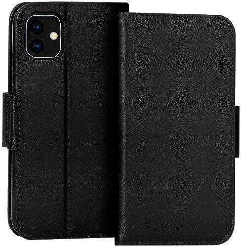 FYY Case for iPhone 11, Luxury [Cowhide Genuine Leather][RFID Blocking] Handcrafted Wallet Case, Handmade Flip Folio ...