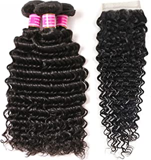 VRBest Brazilian Deep Wave Bundles with Closure 100% Unprocessed Virgin Brazilian Hair 3 Bundles with Closure Deep Curly Human Hair Extensions Natural Color (10 12 14+10)