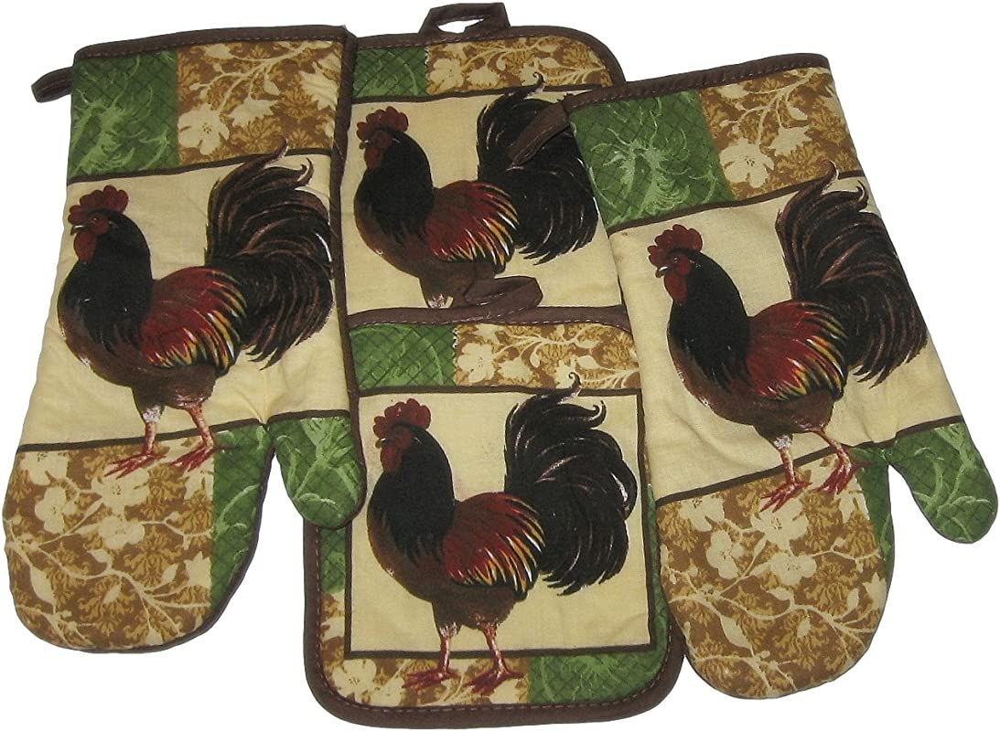 Rooster Brown Green Cotton Oven Mitts And Potholders Set 4 Items